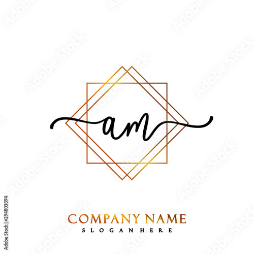 Fotografía  AM Initial Handwriting logo template vector