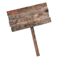 Old Wooden Sign Isolated On Wh...