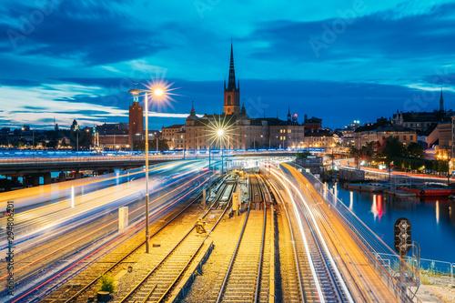 Foto auf AluDibond Stockholm Stockholm, Sweden. Scenic View Of Stockholm Skyline At Summer Evening. Famous Popular Destination Scenic Place. Riddarholm Church And Subway Railway