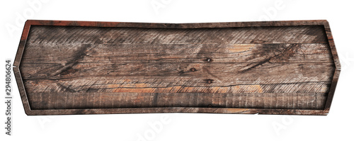 Fototapeta Old wooden sign isolated on white