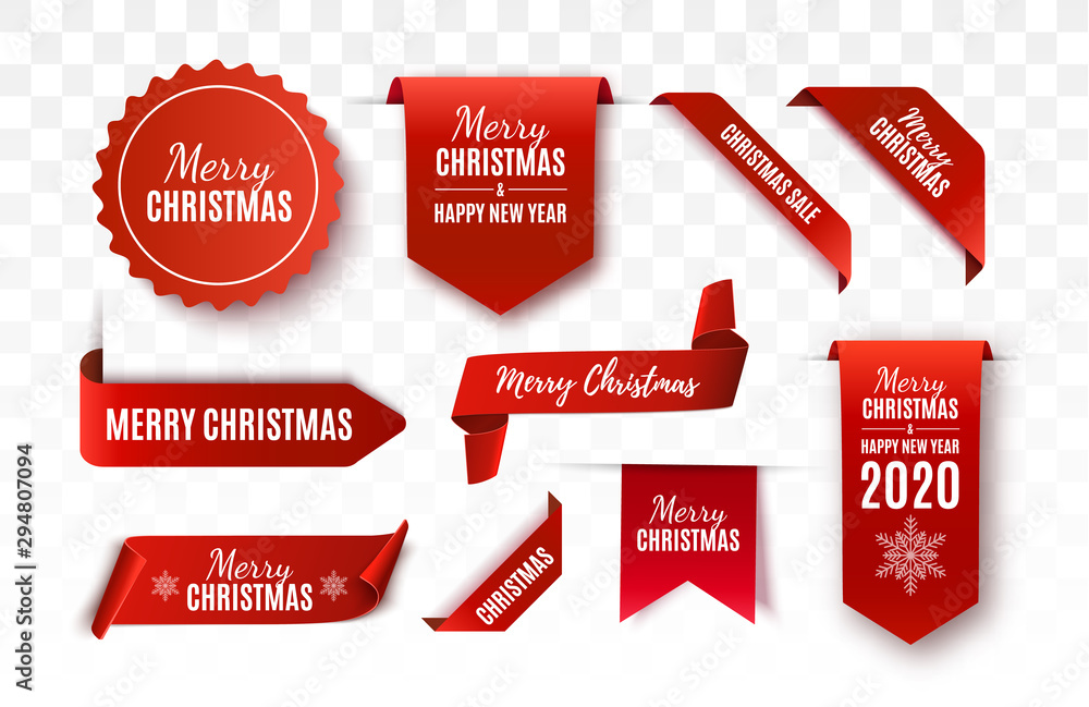 Fototapety, obrazy: Christmas Tags set. Red scrolls and banners isolated. Merry Christmas and Happy New Year labels. Vector illustration