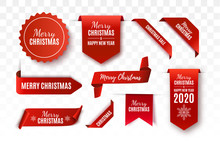 Christmas Tags Set. Red Scrolls And Banners Isolated. Merry Christmas And Happy New Year Labels. Vector Illustration