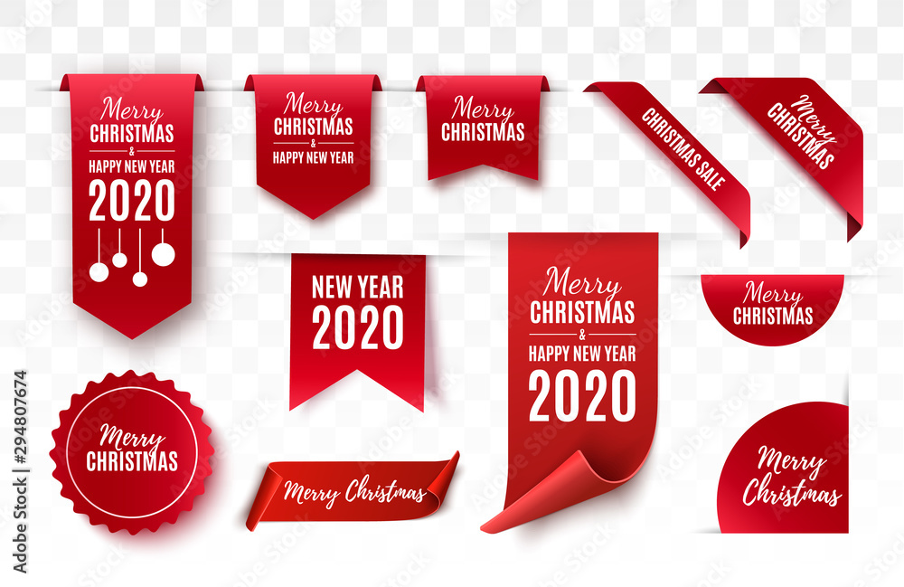 Fototapeta Christmas Tags set. Red scrolls and banners isolated. Merry Christmas and Happy New Year labels. Vector illustration