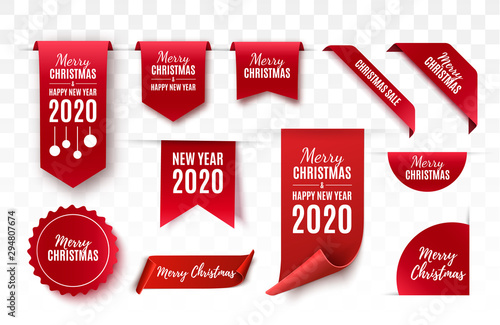 Obraz Christmas Tags set. Red scrolls and banners isolated. Merry Christmas and Happy New Year labels. Vector illustration - fototapety do salonu