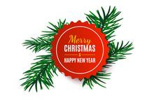 Christmas Tag With Fir Tree. Vector