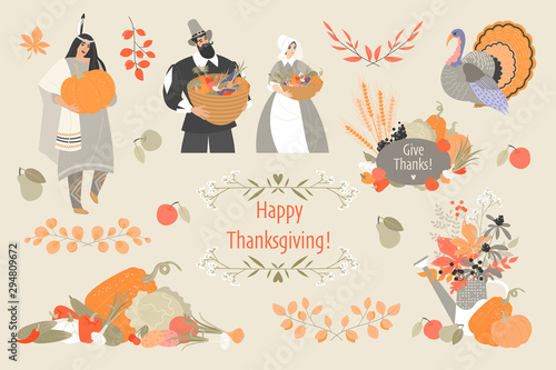 Thanksgiving illustrations set with cute pilgrim and native american characters, plant and vegetable emblems and turkey Wallpaper Mural