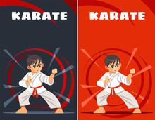 Karate Kid. Design Templates. Kids Sports. Vector Illustration Of Flat, Cartoon Style.