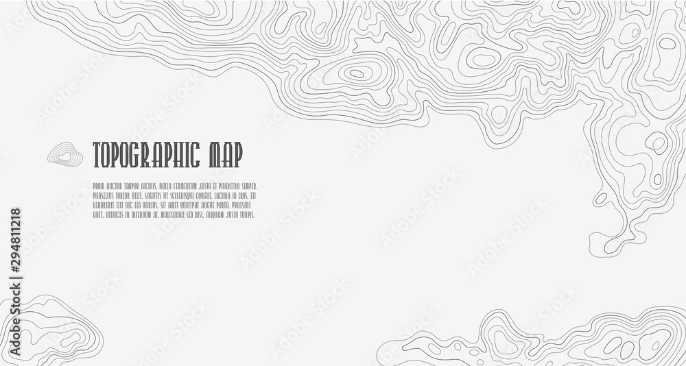 Fototapeta Background of topographic line contour map, geographic grid map with space for copy