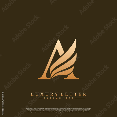 Initial letter A Logo and wing symbol Canvas Print