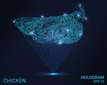 A Hologram Of A Chicken. Holographic Projection Chicken. Flickering Energy Flux Of Particles. Scientific Design Of A Bird.