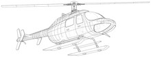 Helicopter In Outline Style. C...