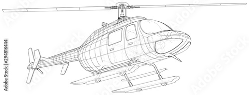 Cuadros en Lienzo Helicopter in outline style