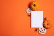 Leinwanddruck Bild - Blank white halloween card with pumpkins and spiders. Poster invitation mockup