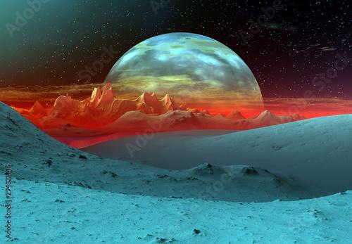 Fototapety, obrazy: 3D Rendered Fantasy Alien Landscape - 3D Illustration