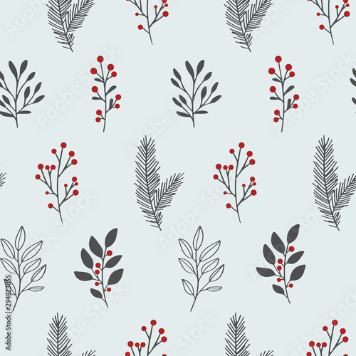 Fototapeten Künstlich Hand drawn vector winter floral pattern. Seamless background with winter branches and leaves. Hand drawn floral elements. Vintage botanical illustrations.