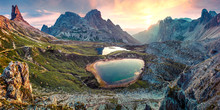 Impressive Summer Sunrise In Rocky Mountain Valley. Fantastic Morning Scene Of Tre Cime Di Lavaredo National Park With Laghi Del Piani Lakes, Dolomiti Alps, South Tyrol, Italy, Europe.