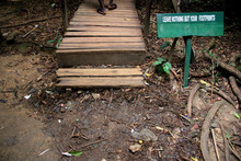 """""""Leave Nothing But Your Footprints""""-Sign At The Entrance To The Canopy Walkway At The Kakum National Park In Ghana"""