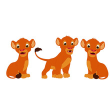 Lion Three Cubs - Cartoon Vect...