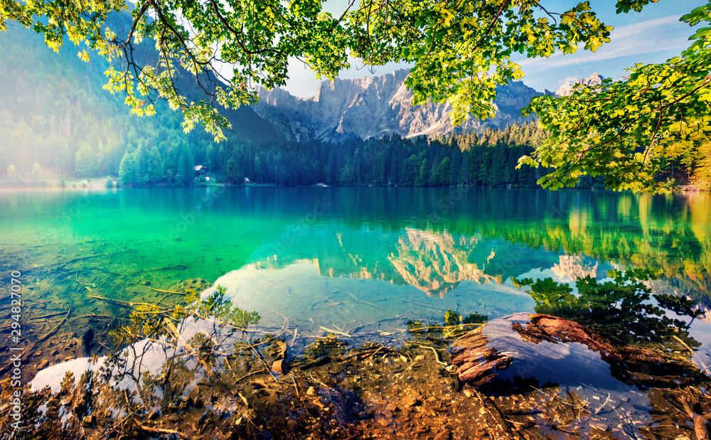 Fototapety, obrazy: Impressive morning view of Fusine lake. Fantastic summer sunrise in Julian Alps with Mangart peak on background, Province of Udine, Italy, Europe. Traveling concept background.