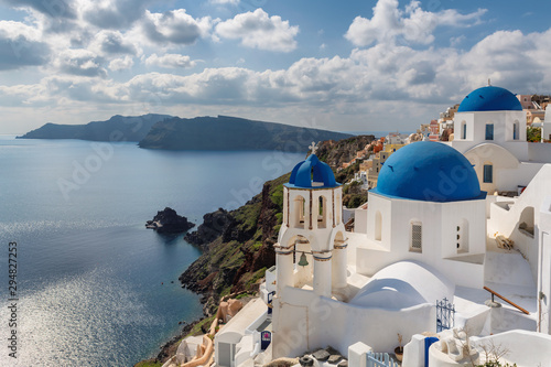 Santorini blue dome churches, Greece