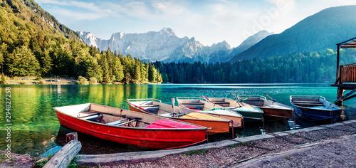 Stampa su Tela Six pleasure boats on Fusine lake