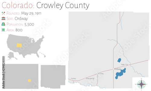 Large and detailed map of  Crowley county in Colorado, USA Wallpaper Mural