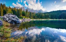Stunning Summer View Of Carezza (Karersee) Lake. Wonderful Morning Scene Of Dolomiti Alps, Province Of Bolzano, South Tyrol, Italy, Europe. Beauty Of Nature Concept Background.