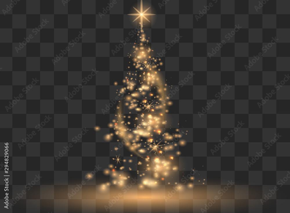 Fototapeta Illumination Lights Shiny Christmas tree Isolated on Transparent Background. White tree as symbol of Happy New Year, Merry Christmas holiday celebration. Bright light decoration design. Vector.