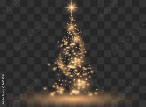 Fototapeta Illumination Lights Shiny Christmas tree Isolated on Transparent Background. White tree as symbol of Happy New Year, Merry Christmas holiday celebration. Bright light decoration design. Vector. obraz