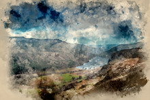 Digital Watercolor Painting Of Landscape Image Of View From Peak Of Crimpiau Towards Llyn Crafnant In Snowdonia
