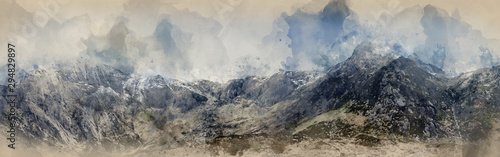 Digital watercolor painting of Stunning dramatic panoramic landscape image of sn Fototapete