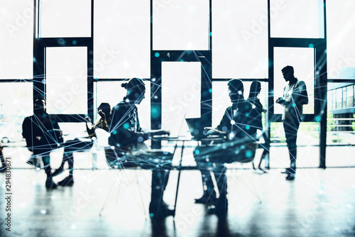 Network background concept with business people silhouette working in the office Wallpaper Mural