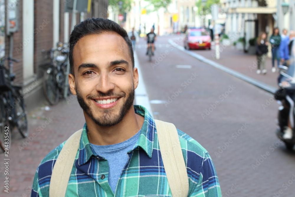 Fototapety, obrazy: Charming ethnic man in the city