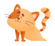 Cartoon happy cat yogi stands on his hands and leans down. Vector illustration.