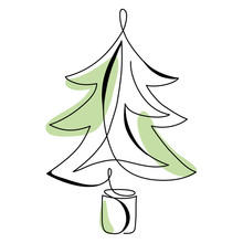 Continuous Line Drawing Abstract Christmas Tree. Modern One Line Art, Aesthetic Contour. Winter Minimal Style Illustration For Greeting Cards, T-shirt Prints, Poster, Sticker, Banner. Vector