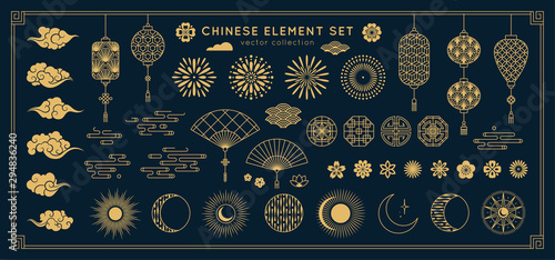 Fototapeta Asian design element set. Vector decorative collection of patterns, lanterns, flowers , clouds, ornaments in chinese and japanese style. obraz