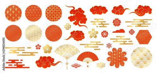 Photo  Asian design element set