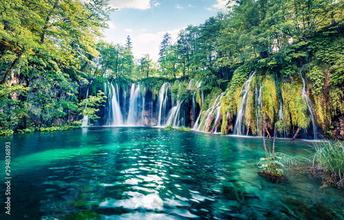 Poster Cascades Fresh morning view of pure water waterfall in Plitvice National Park. Picturesque spring scene of green forest with small lake, Croatia, Europe. Beauty of nature concept background.