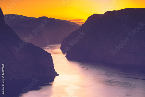 Foto auf AluDibond Aubergine lila Fjord landscape at sunset, Norway