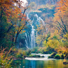 Fototapeta Eko Captivating morning view of pure water waterfall in Plitvice National Park. Amazing autumn scene of Croatia, Europe. Abandoned places of Plitvice lakes series. Beauty of nature concept background.