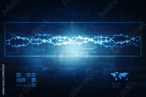 Foto auf AluDibond Stadion 2d illustration Abstract futuristic electronic circuit technology background