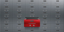 Bank Deposit Safe Boxes Wall, One Red Opened Locker With Number Plate, Tandem Keyholes On Steel Door. Vault For Valuable, Confidential Documents, Money Secure Saving 3d Realistic Vector Illustration