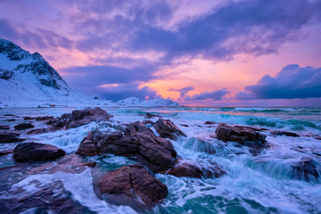 Norwegian Sea waves on rocky coast of Lofoten islands, Norway