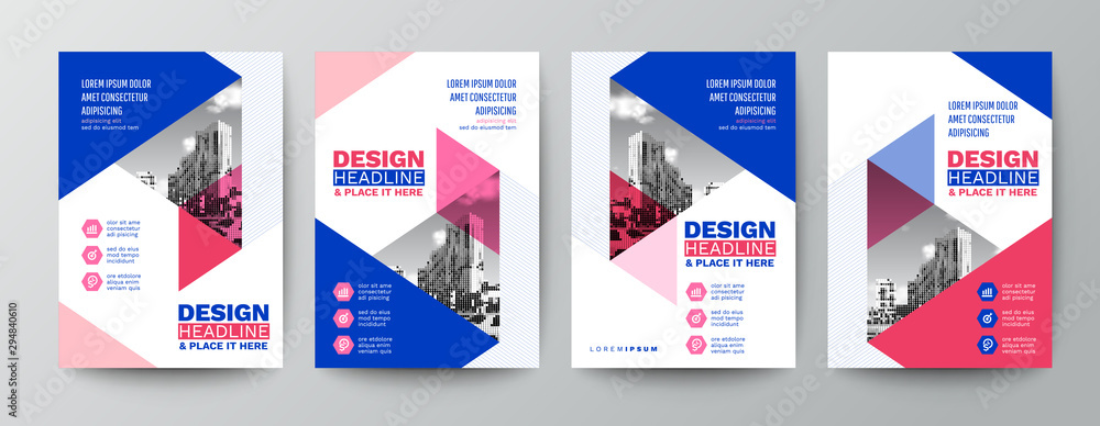 Fototapeta modern blue and pink design template for poster flyer brochure cover. Graphic design layout with triangle graphic elements and space for photo background