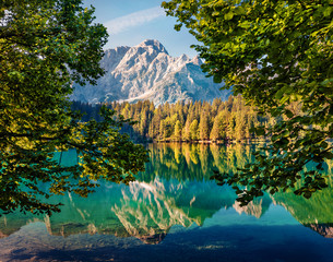 Obraz na Szkle Las Calm morning view of Fusine lake. Colorful summer scene of Julian Alps with Mangart peak on background, Province of Udine, Italy, Europe. Beauty of nature concept background.