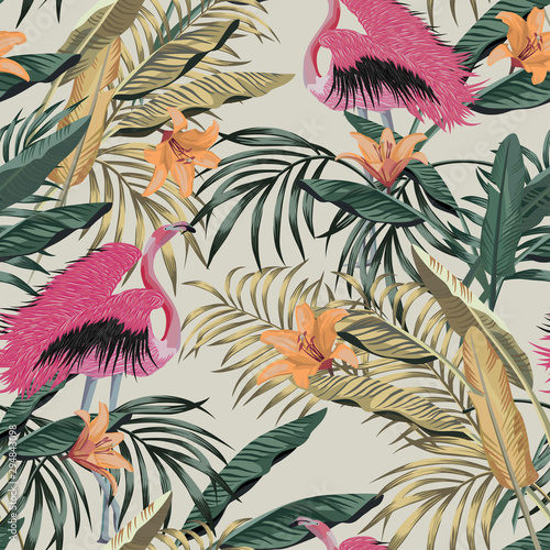 Exotic jungle illustration tropical plants pink flamingo seamless wallpaper