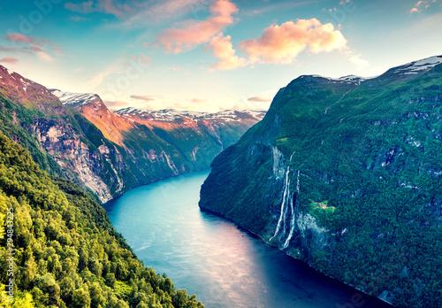Splendid summer sunset of Sunnylvsfjorden fjord canyon, Geiranger village location, western Norway Wallpaper Mural