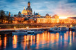Splendid evennig view of Cathedral of the Holy Trinity or Hofkirche, Bruehl's Terrace or The Balcony of Europe. Great autumn sunset on Elbe river in Dresden, Saxony, Germany, Europe.