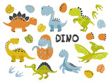 Fototapeta Dinusie - Set of funny cartoon dinosaurs for kids. Vector illustration.