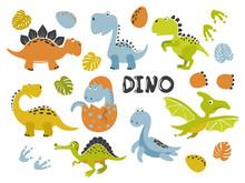 Set Of Funny Cartoon Dinosaurs For Kids. Vector Illustration.